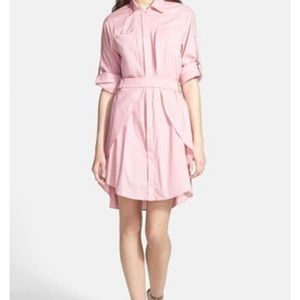 Halston Heritage Pink Voile Shirtdress / Size 6
